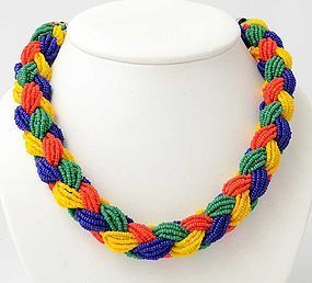 Braided Beads necklace: Circa 1950