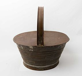Tin Basket with Wood Bottom: Circa 1900