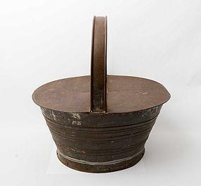 Tin Basket with Wood Bottom: Circa 1900