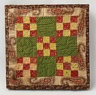 Double Nine Patch Doll Quilt: Circa 1870; Pa.