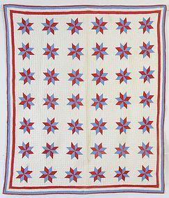 LeMoyne Stars Crib Quilt: Circa 1900