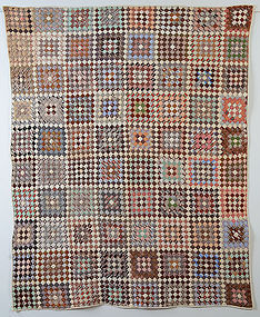 One Patch Quilt in Squares: Ca. 1880; Maine