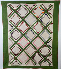Feathered Diamonds Quilt: Circa 1870; Pa.