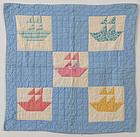 Sailboats Cradle Quilt: Circa 1930; Pa.