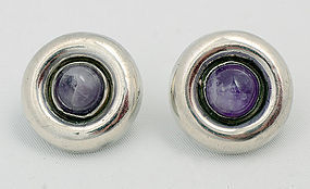 William Spratling Silver and Amethyst Earrings