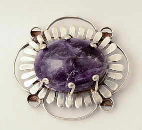 Large Silver Brooch with Amethyst: Circa 1940