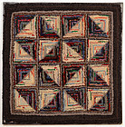 Light and Dark Log Cabin Hooked Rug: Ca. 1920