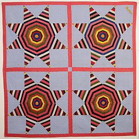 String Stars Quilt: Circa 1880; Pa.