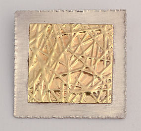 Gold and Silver Brooch by Elizabeth Prior: Ca. 1990's