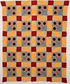 Black Eyed Susan/Barnraising Quilt: Circa 1900
