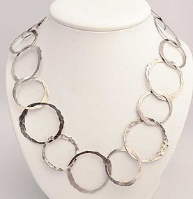 Hammered Silver Circles Necklace