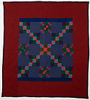Lancaster County Amish Four Patch Quilt: Ca. 1930