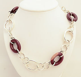 Sterling Silver and Rosewood Long Chain Necklace
