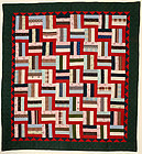Fence Rail Log Cabin Quilt: Ca.1890;Pa.