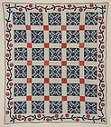 Wild Goose Chase Quilt with Applique Border;Ca.1850;NY