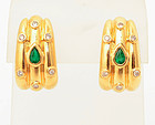 Gold Earrings with Emerald and Diamonds