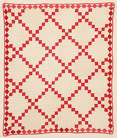 Single Irish Chain Crib Quilt: Circa 1880; Missouri