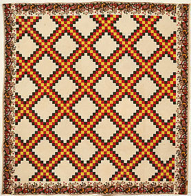 Irish Chain Quilt with Chintz Border:Ca. 1830