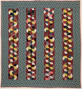 Tumbling Blocks in Bars Quilt: Ca. 1890; Pa.
