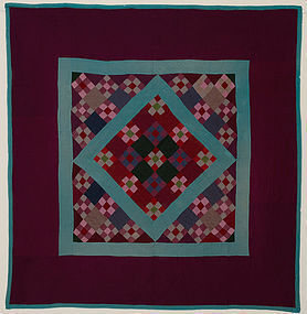 Lancaster Amish Nine Patch in Diamond Quilt: Ca. 1920