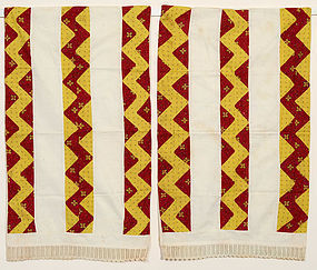 Pair of Streak of Lightning Pillow Cases: Ca. 1830; Pa.