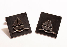 Sterling Silver Sailboats Cufflinks: Circa 1950