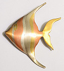 Los Castillo Mixed Metals Fish Pin: Circa 1950
