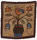 Pot of Flowers Hooked Rug: Circa 1920; Pennsylvania