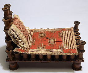 Spool Doll Bed with Linens; Dated 1905