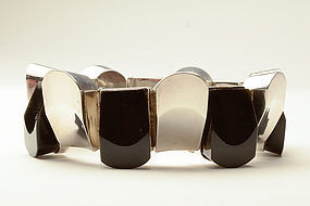 Silver and Onyx Thumbprint Bracelet