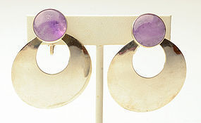 Large Silver Hoop Earrings with Amethyst Discs; Circa 1950