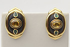 Boris LeBeau Gold Earrings with Sapphires; Emeralds and Wood
