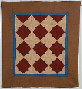 Light and Dark Log Cabin Quilt: Circa 1870; Pennsylvania