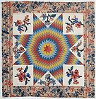 Lone Star Quilt with Broderie Perse; Circa 1830