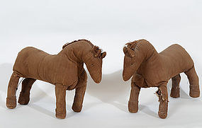 Homemade Lancaster County Amish Toy Horses: Circa 1920