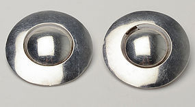 HUGE Domed Sterling Silver Modernist Earrings