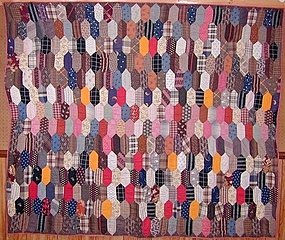 Elongated Hexagons Quilt: Ca. 1880; Pa.