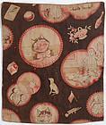 Printed Fabric Doll Quilt: Circa 1880's; Pennsylvania
