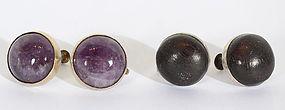 William Spratling Earrings: Amethyst and Wood; Circa 1940's