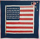 "Patriotic American Flag Quilt Titled ""Stars and Stripes Forever"""