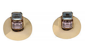 Large Gold Earrings with Spinel and Blue Topaz: Circa 1980
