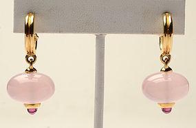 Paloma Picasso Rose Quartz and Tourmaline Drop Earrings; Circa 1990