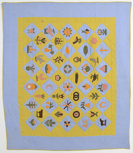 Folky Sampler Quilt: Dated 1893; Pennsylvania