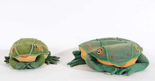 Pair of Frog Pillows: Circa 1930; Maine