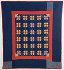 Ohio Amish Nine Patch Quilt: Circa 1920