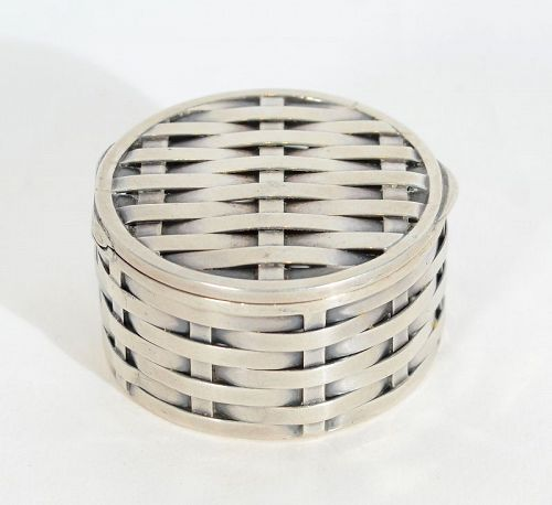 Woven Sterling Silver Round Box