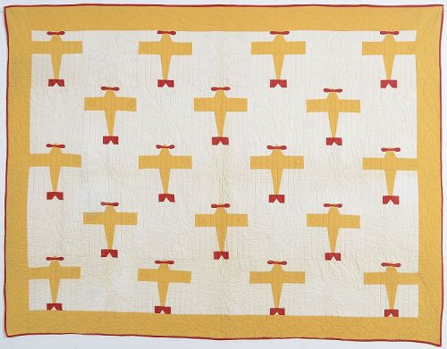 Lone Eagle Airplane Quilt: Circa 1929