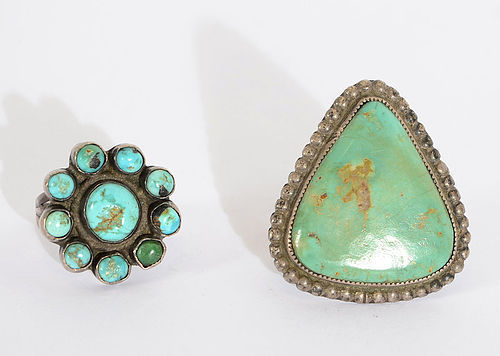 Navajo Turquoise Rings; Circa 1940's