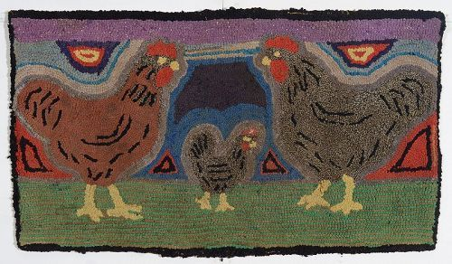 Roosters Hooked Rug: Circa 1930; Pennsylvania