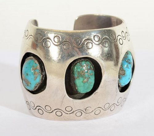Hopi Shadowbox Cuff Bracelet with Turquoise